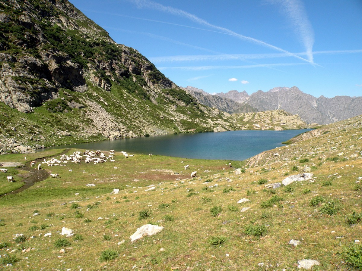 The lake view from the south of the Lago del Vei del Bouc Hike in Alpi Marittime National Park, Italy