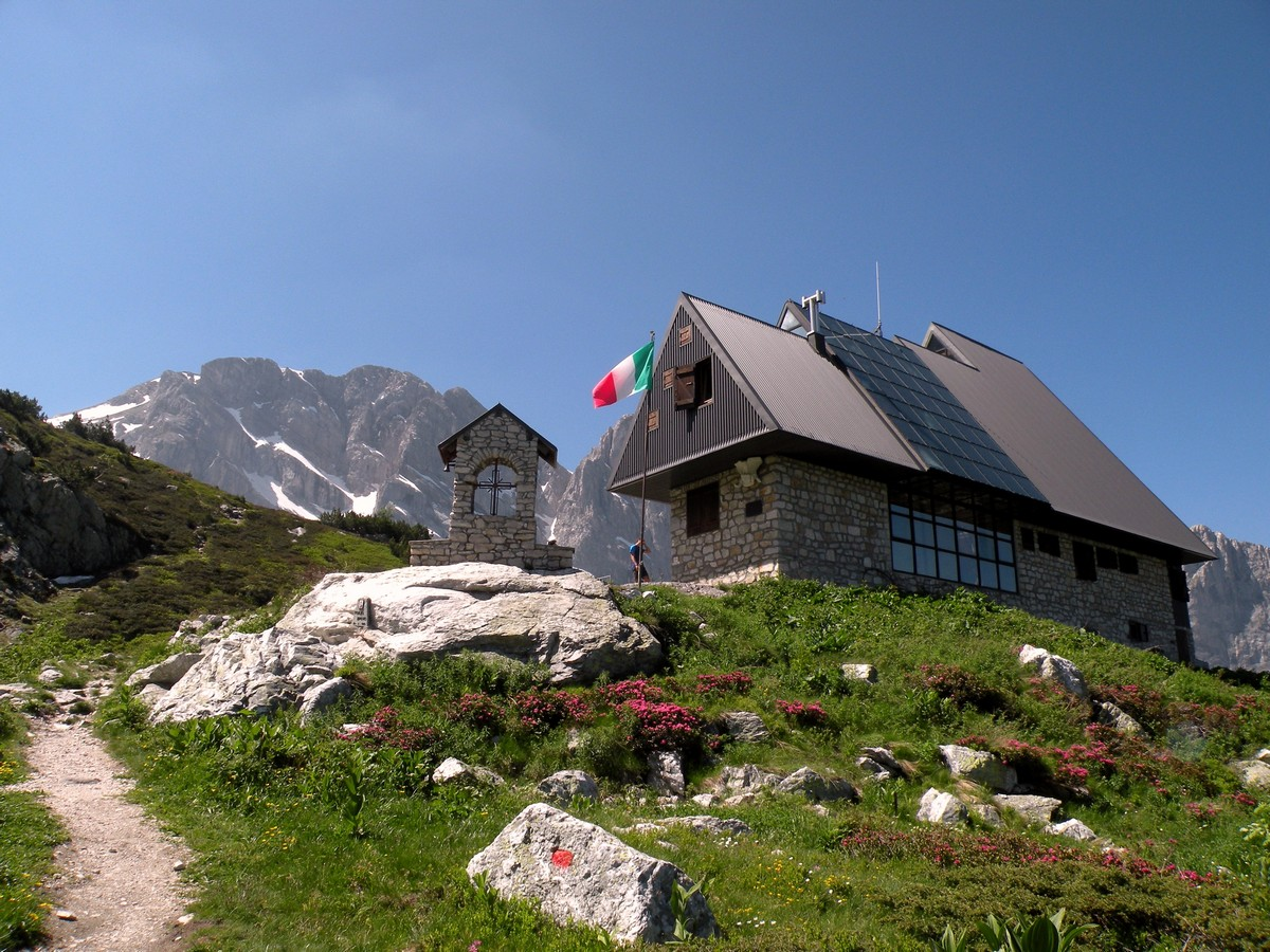 The hut with the Marguareis from the Rifugio Garelli Hike in Alpi Marittime National Park, Italy