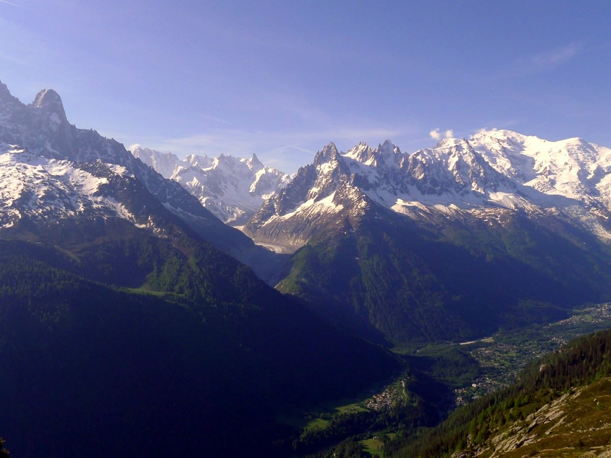 Chamonix valley view from the Lac Blanc trail
