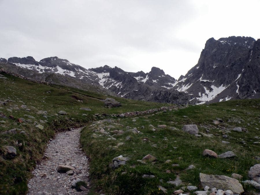 The path with Mont Gelas on the bottom on the Col de Fenêtre Hike in Mercantour National Park, France