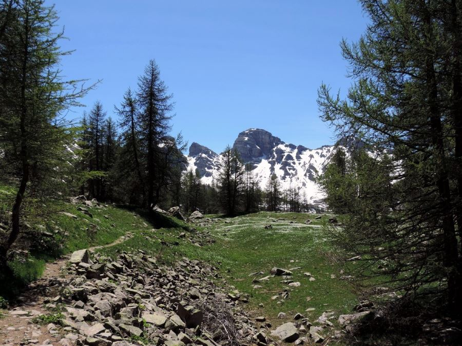 The path from the lake with the Tour d'Allos from the Sommets des Garrets Hike in Mercantour National Park, France