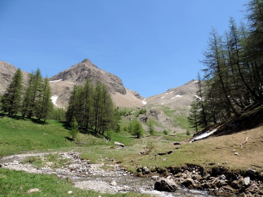 Trail up with the Mont Pelat on the bottom on the Sommets des Garrets Hike in Mercantour National Park, France