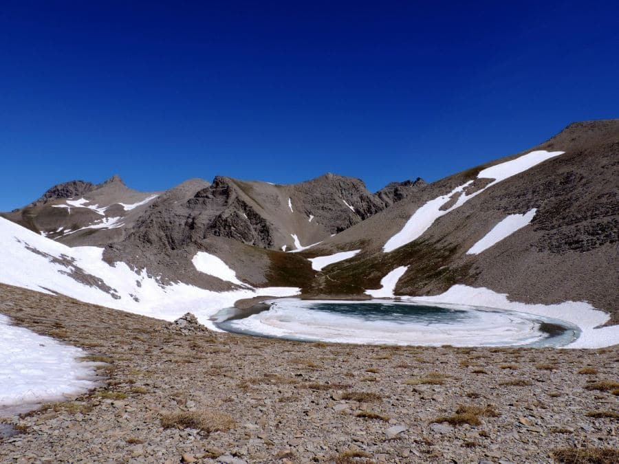 The Lac de Garrest with the Mont Pelat from the Sommets des Garrets Hike in Mercantour National Park, France