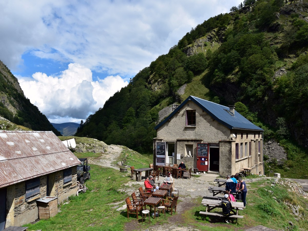 Hiking to the refuge near Lac d'Oô in French Pyrenees