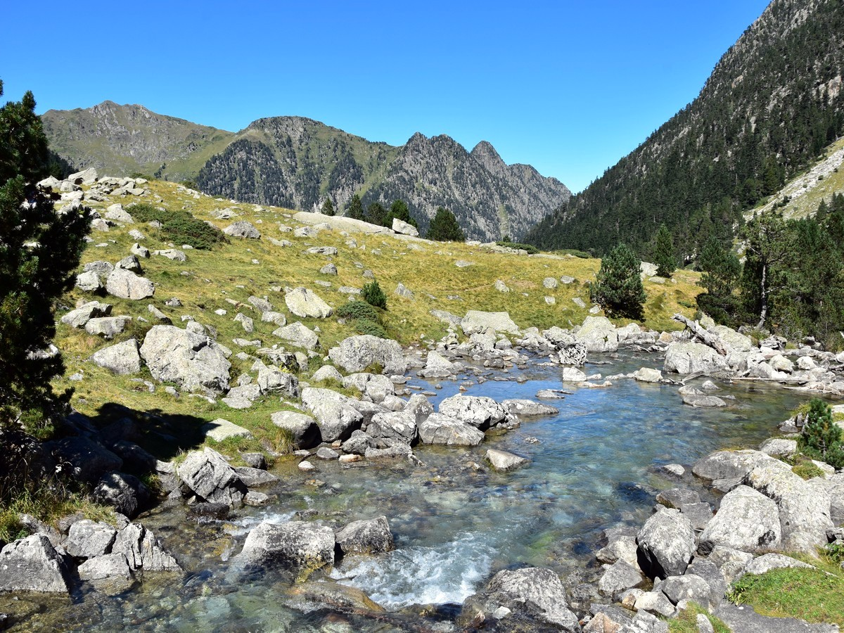 Looking north from the small bridge at the northwest end of the lake on the Lac de Gaube Hike in French Pyrenees