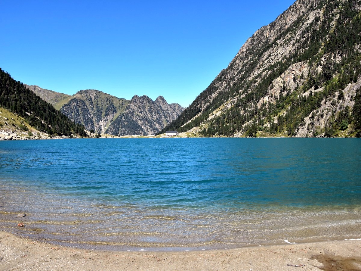The view north from the south end of the lake on the Lac de Gaube Hike in French Pyrenees