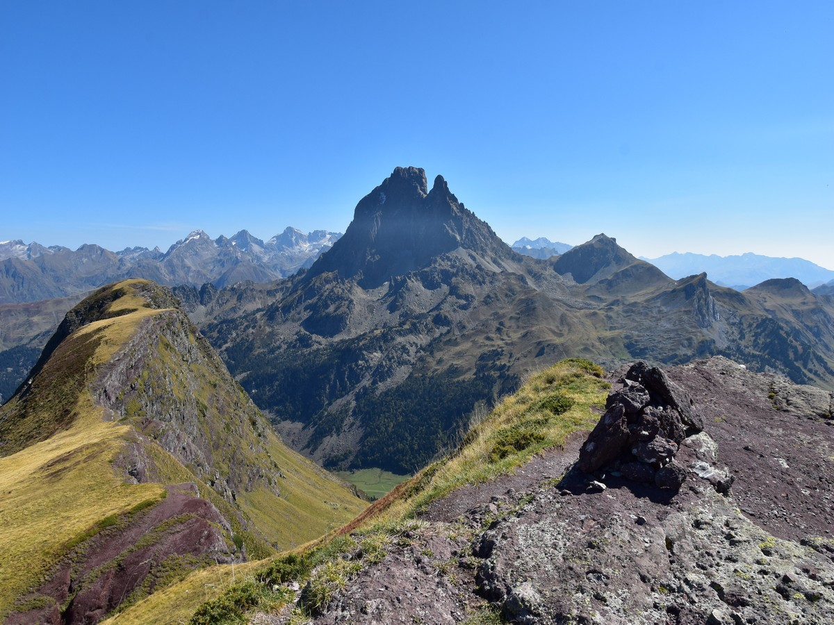 The mighty views over the Pic du Midi d'Ossau from the summit of the Pic d'Ayous