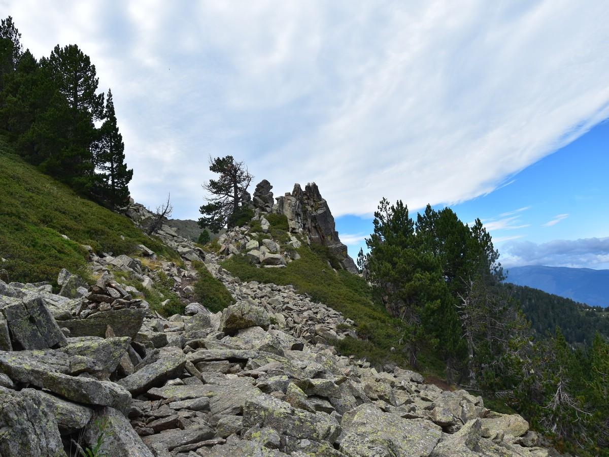 Crossing the boulder field on the Pic du Canigou Hike in French Pyrenees