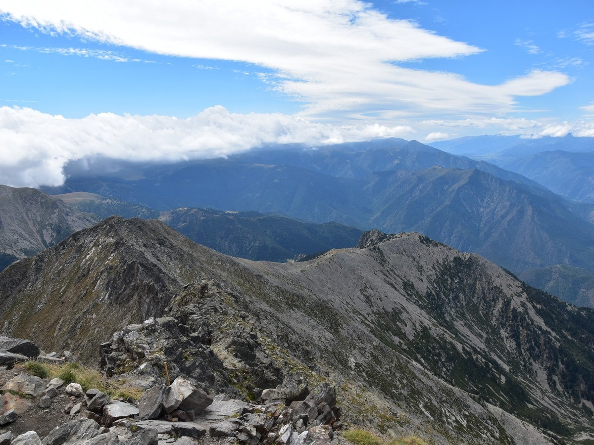 The views southwest from the top of the Pic du Canigou Hike in French Pyrenees