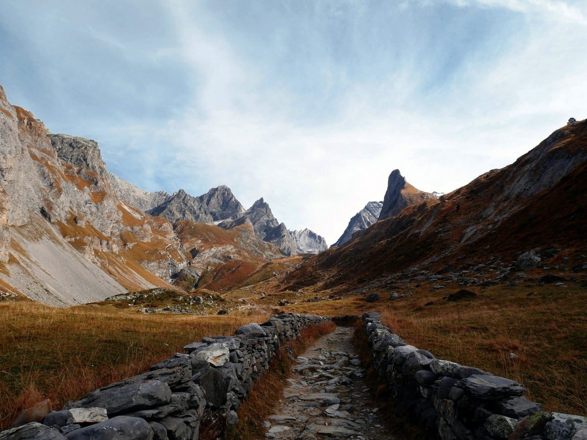 The road of the salt on the Lac des Vaches and Col de la Vanoise Hike in Vanoise National Park in France