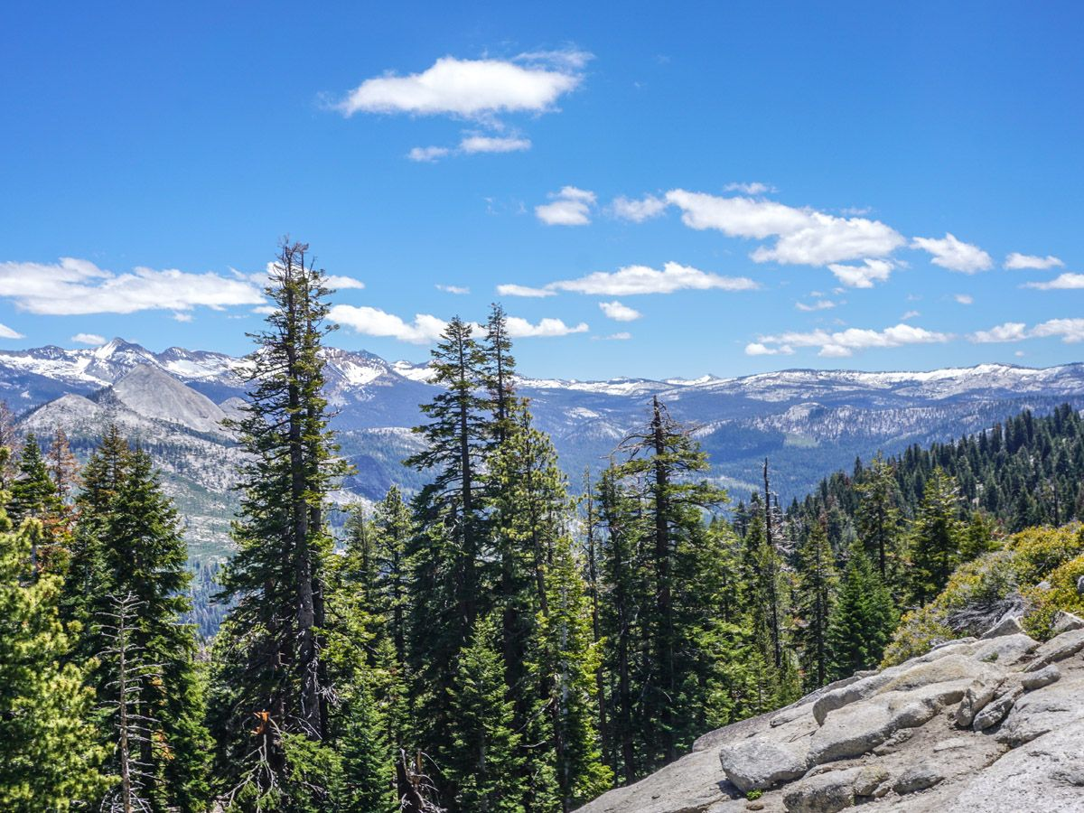 View from the mountain at Sentinel Dome to Glacier Point Hike Yosemite