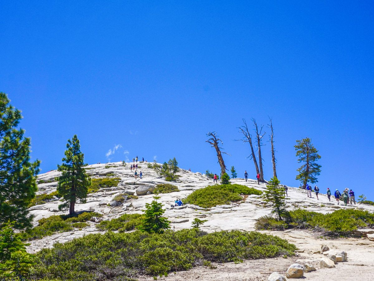 People hiking at Sentinel Dome to Glacier Point Hike Yosemite