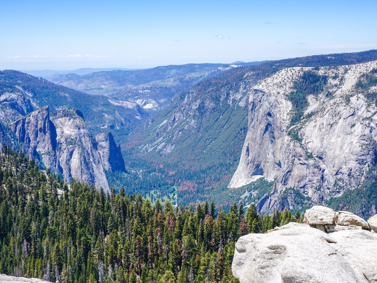 View from the mountain Sentinel Dome to Glacier Point Hike Yosemite