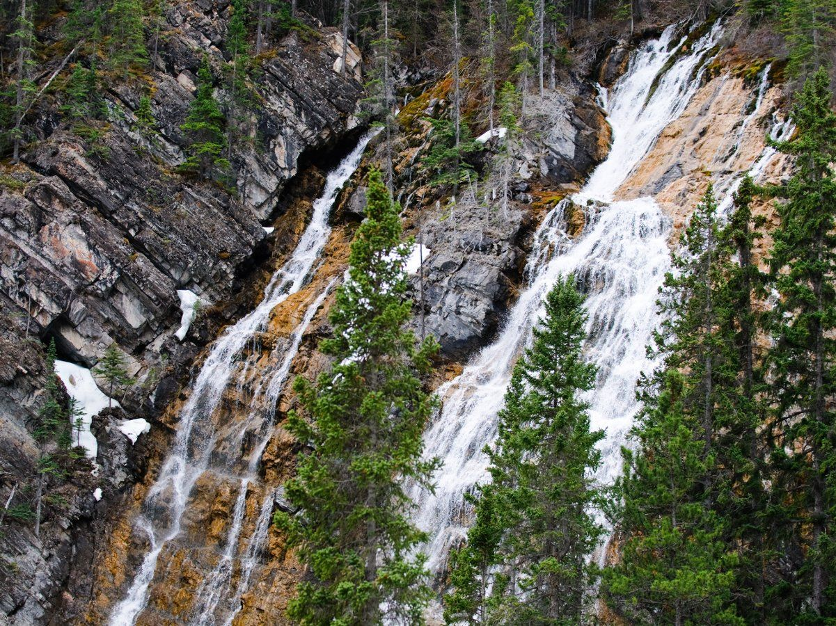 Grassi Falls on the Grassi Lakes Circuit Hike in Canmore, the Canadian Rockies
