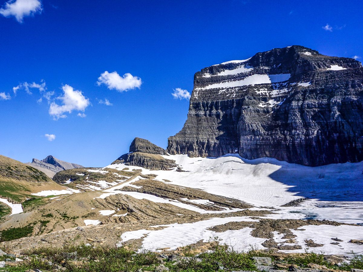 Snowy Mountain at Grinnell Glacier Hike in Glacier National Park