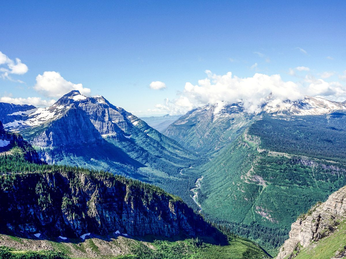 View from mountain top at The Highline Hike in Glacier National Park