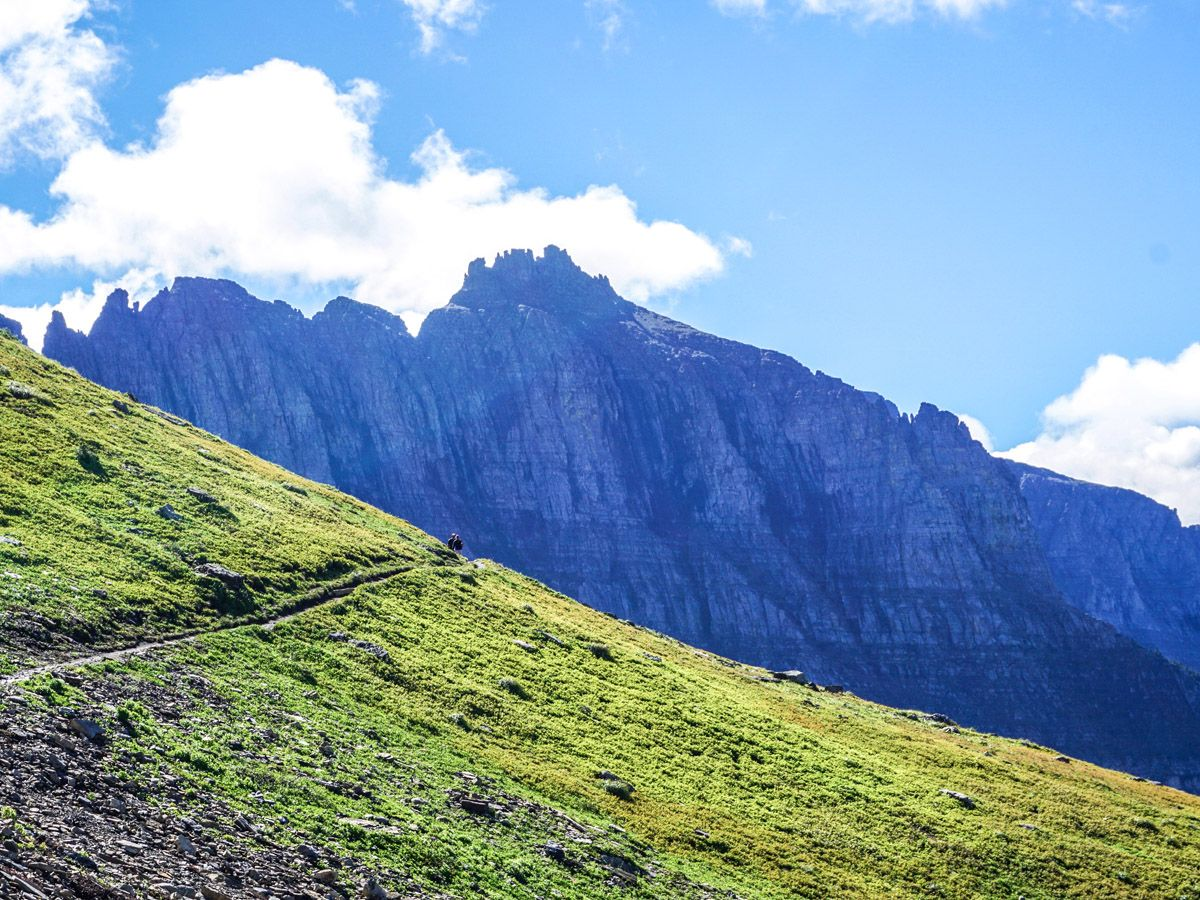 Beautiful mountain trail on the Highline Hike in Glacier National Park
