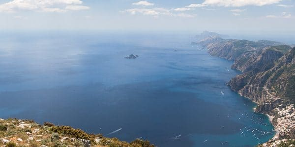 Panorama from the Tre Calli loop hike in Amalfi Coast, Italy