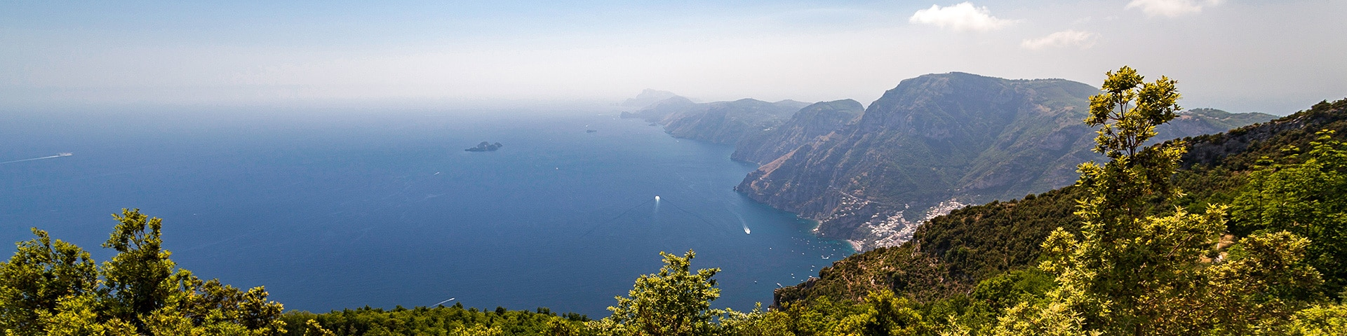 Panorama from the High Path of the Gods hike in Amalfi Coast, Italy