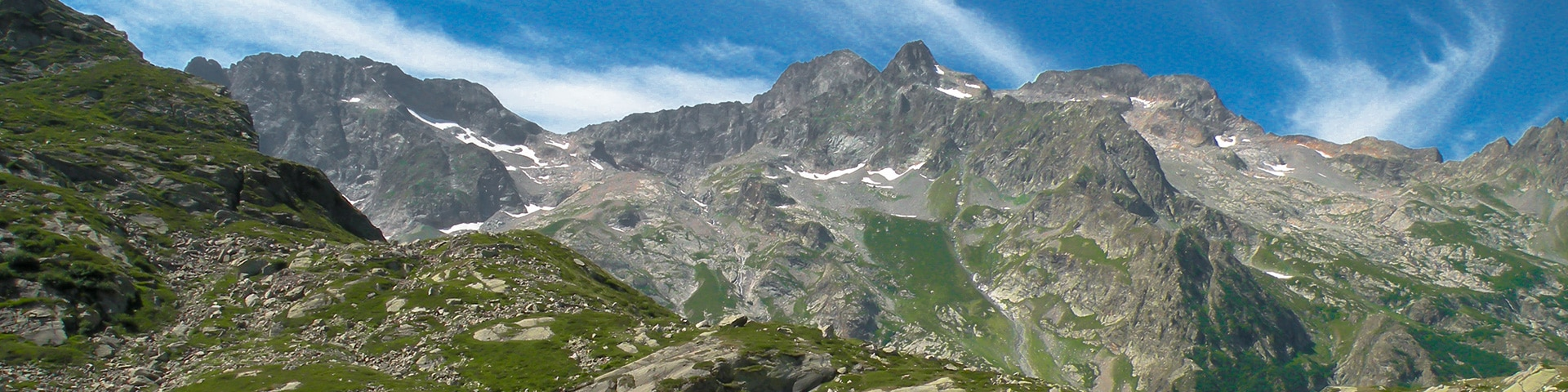 Panorama from the Lago del Vei del Bouc hike in Alpi Marittime National Park, Italy