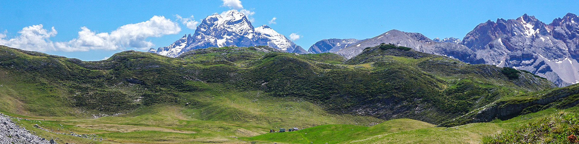 Panorama from the Alpi di Sennes hike in Dolomites, Italy