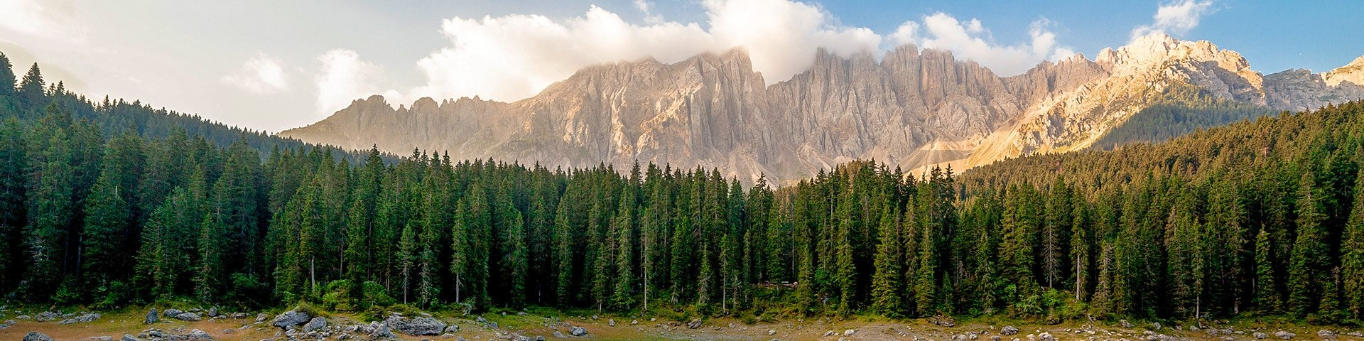 Panorama from the Carezza Lake Alpi di Sennes hike in Dolomites, Italy