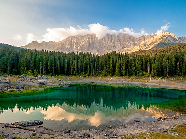 Scenery from the Carezza Lake Alpi di Sennes hike in Dolomites, Italy
