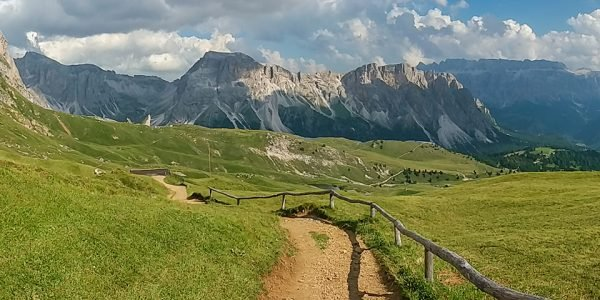 Panoramic views from the Circuit of Seceda hike in Dolomites, Italy