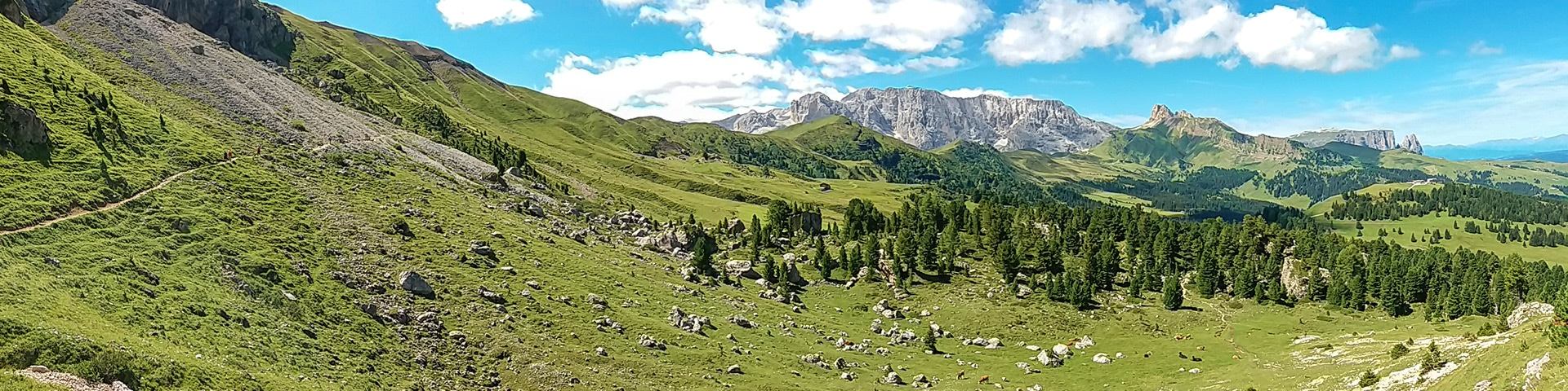 Panoramic views from the Sasso Piatto and Sassolungo hike in Dolomites, Italy