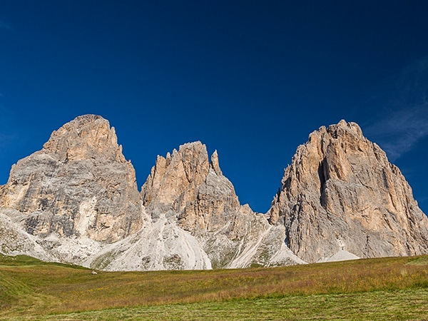 Scenery from the Sasso Piatto and Sassolungo hike in Dolomites, Italy