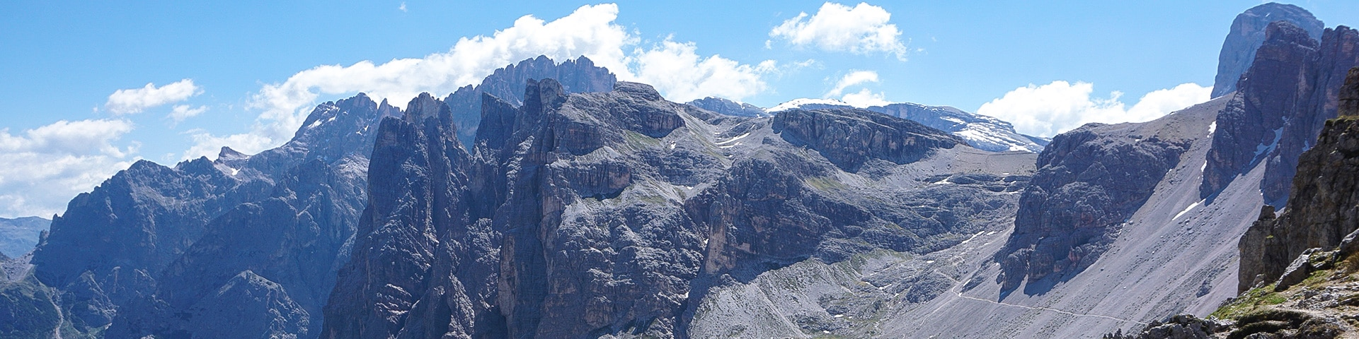 Panorama of the Tre Cime hike in Dolomites, Italy