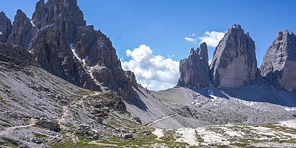 Trail of the Tre Cime hike in Dolomites, Italy