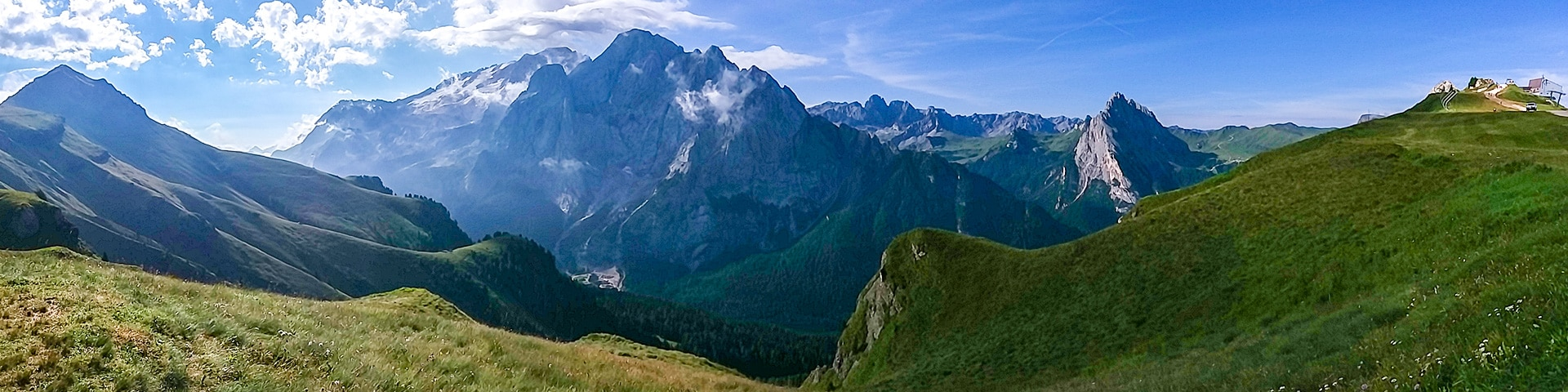 Panorama of the Viel del Pan hike in Dolomites, Italy
