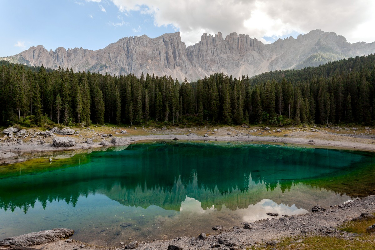 Carezza Lake hike is one of top 10 hikes in the Italian Dolomites
