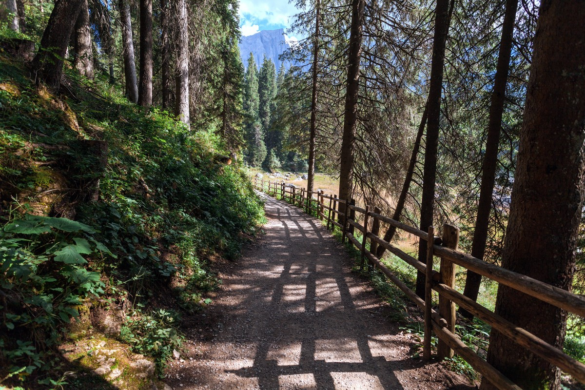The path around the lake on the Lago di Carezza Hike in Dolomites, Italy