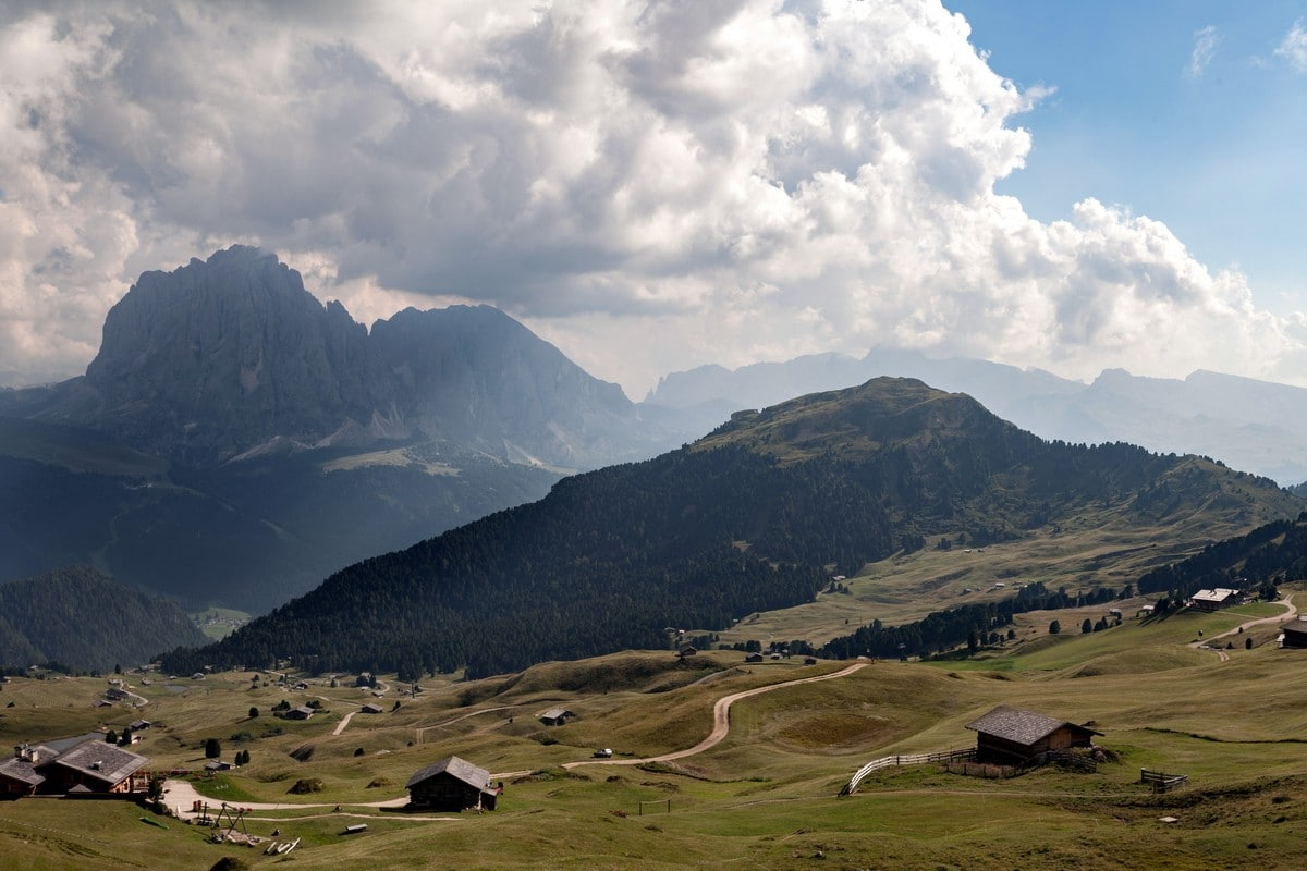 Sassolungo and Sassopiatto as seen from the Seceda / Puez Odle Hike in Dolomites, Italy