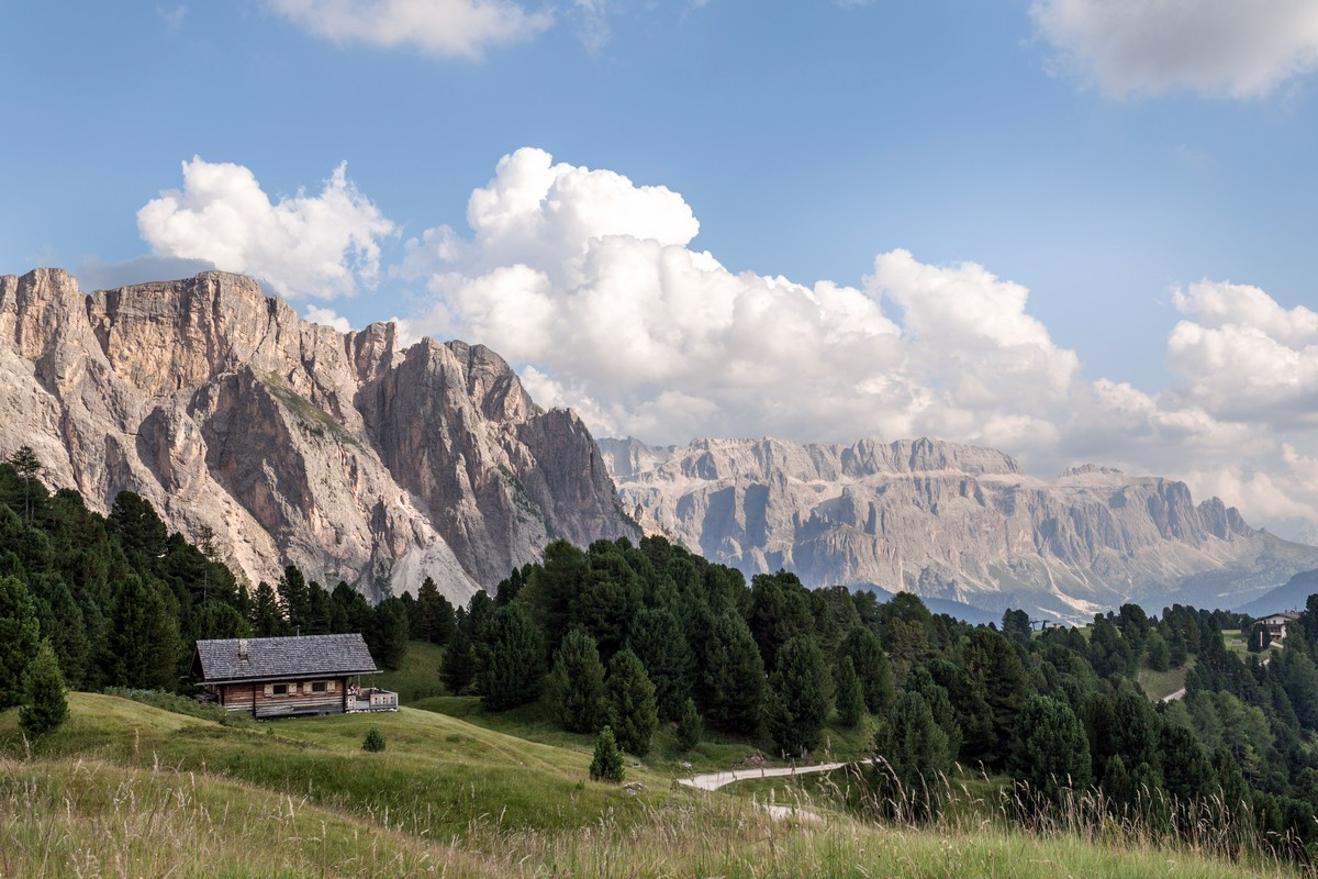 Puez on the left and Sella Towers on the right from the Seceda / Puez Odle Hike in Dolomites, Italy