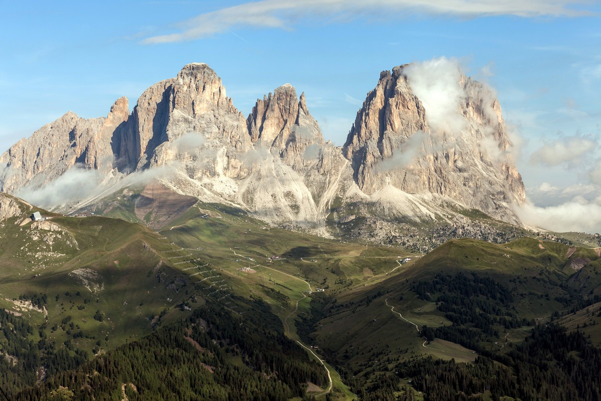 Sassolungo massif on the Viel del Pan Marmolada Hike in Dolomites, Italy