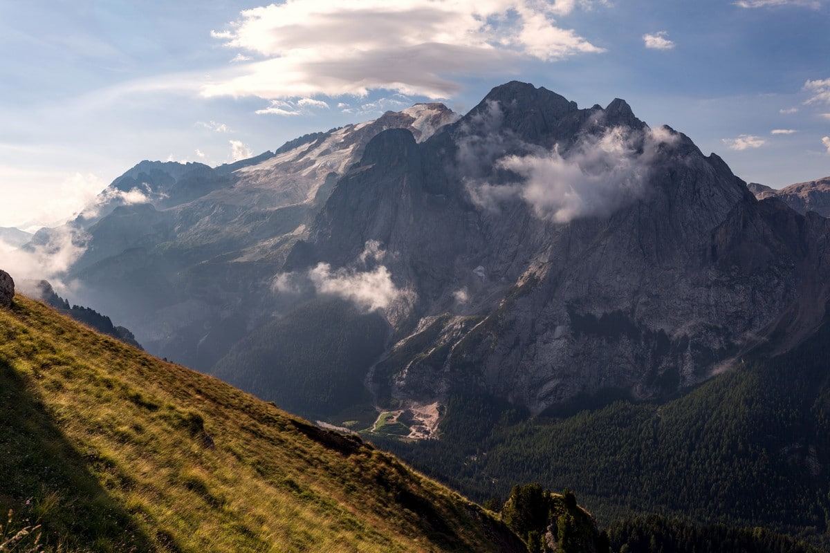 Marmolada and it's glaciers from the Viel del Pan Marmolada Hike in Dolomites, Italy