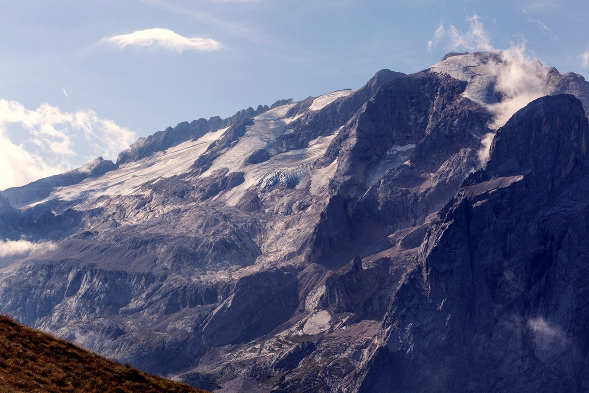 Glaciers of Marmolada as seen from the Viel del Pan Marmolada Hike in Dolomites, Italy