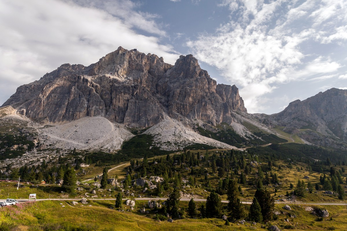 Le Tofane Mountains from the beginning of the Nuvolau Hike in Dolomites, Italy