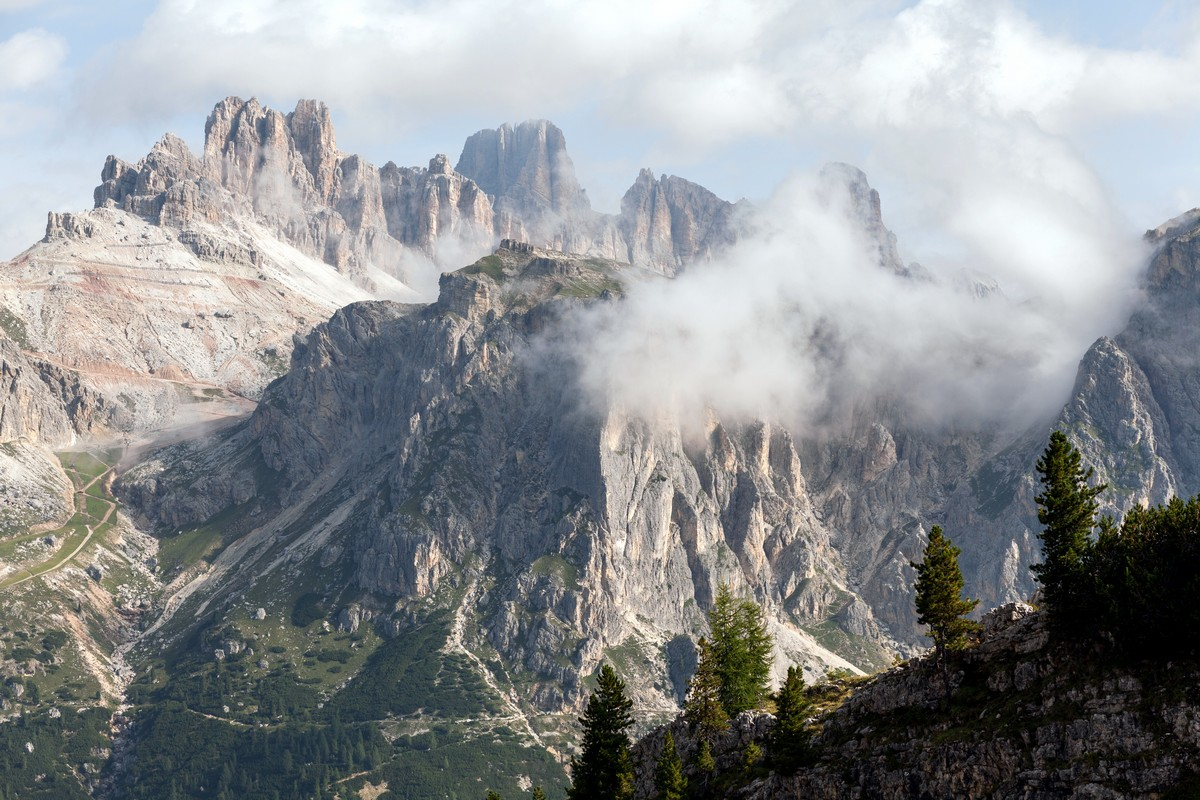 Le Tofane views from the Nuvolau Hike in Dolomites, Italy