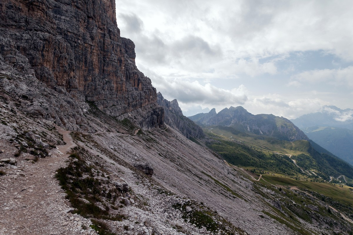 The trail under the Averau on the Nuvolau Hike in Dolomites, Italy