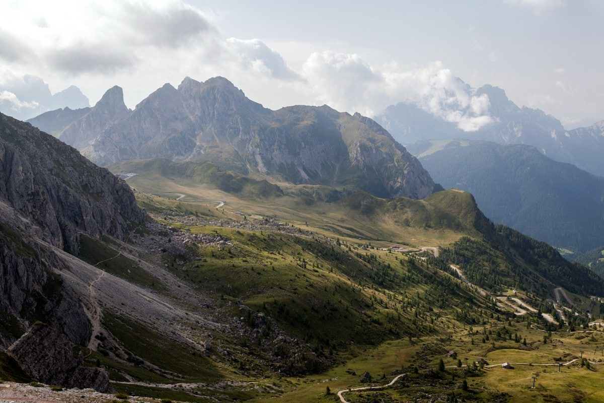 View of Passo Giau from the Averau on the Nuvolau Hike in Dolomites, Italy