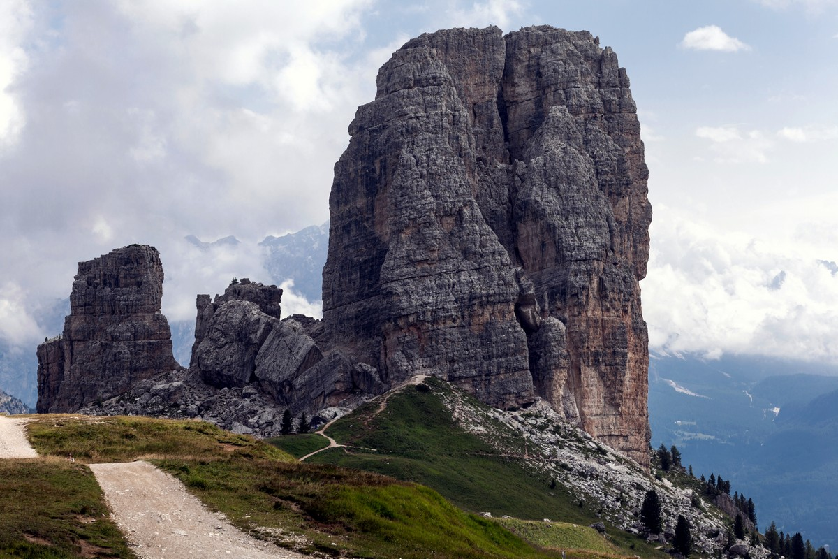 Cinque Torri from the Nuvolau Hike in Dolomites, Italy