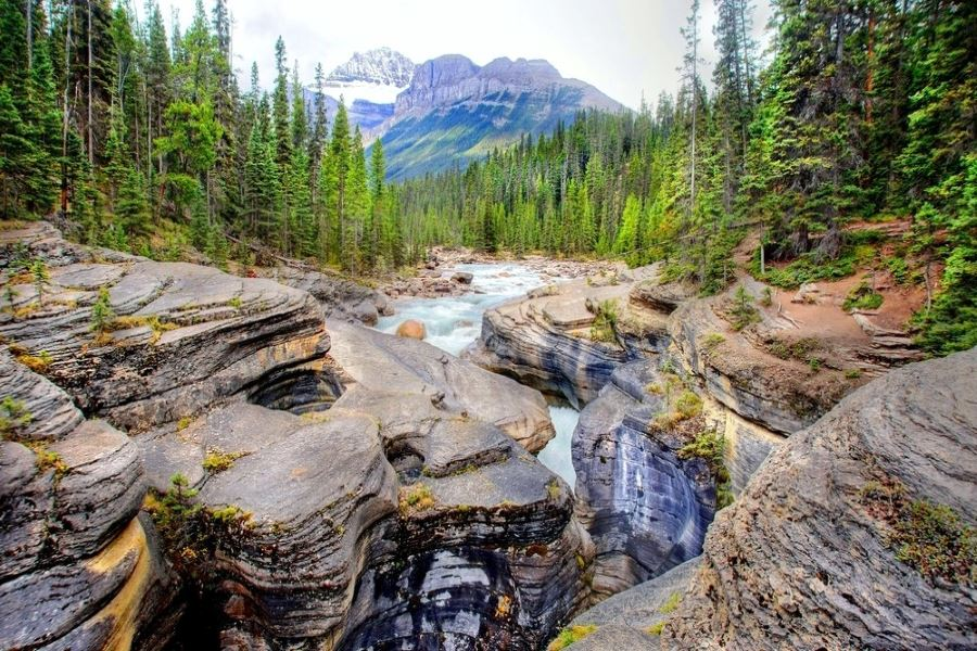 Mistaya Canyon is a must-visit on Icefields Parkway