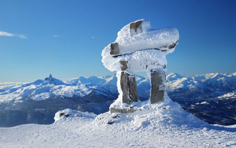 Inukshuk at the summit of Whistler Mountain in winter