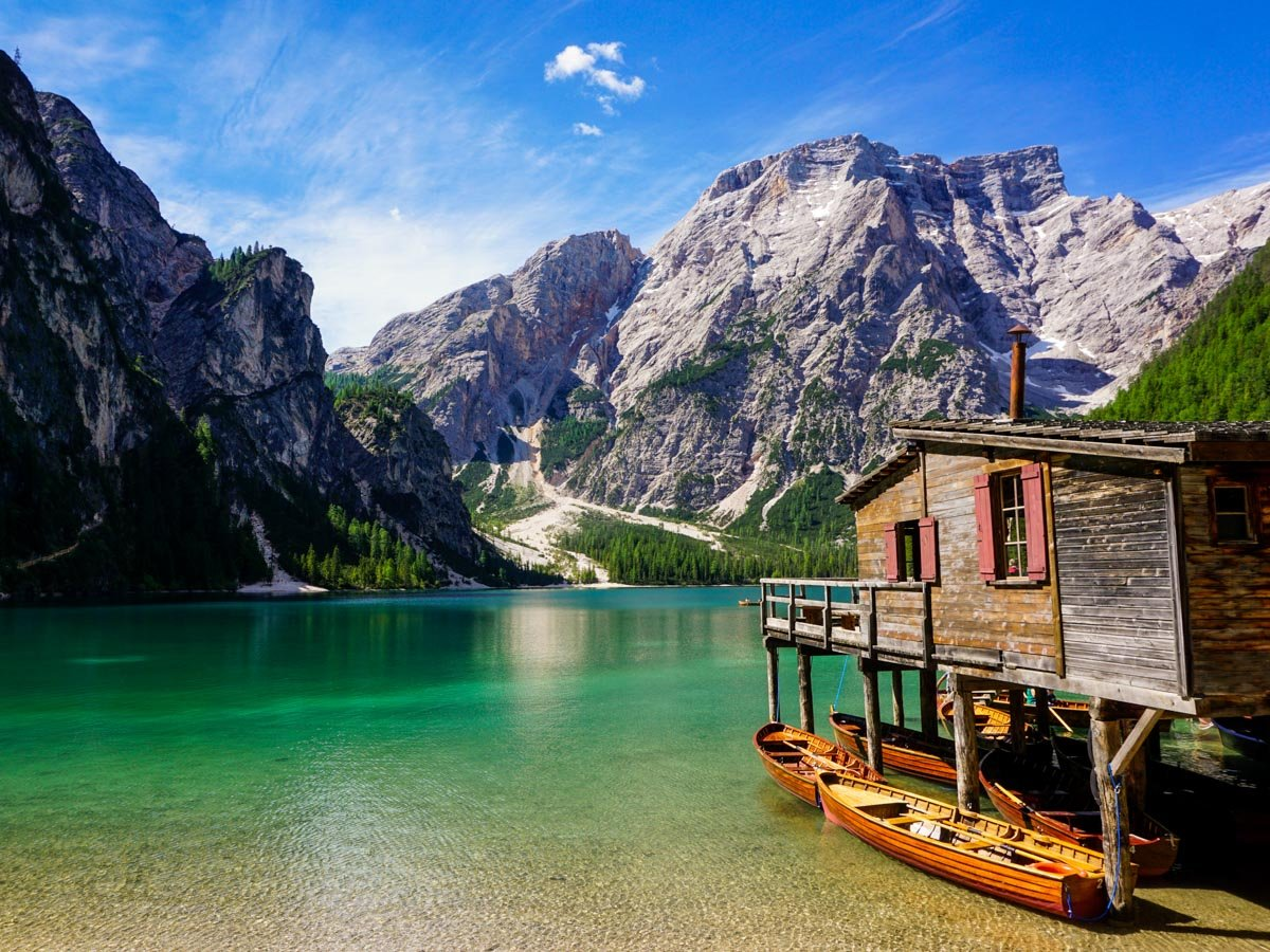 Boathouse on the Lago di Braies Hike in Dolomites, Italy