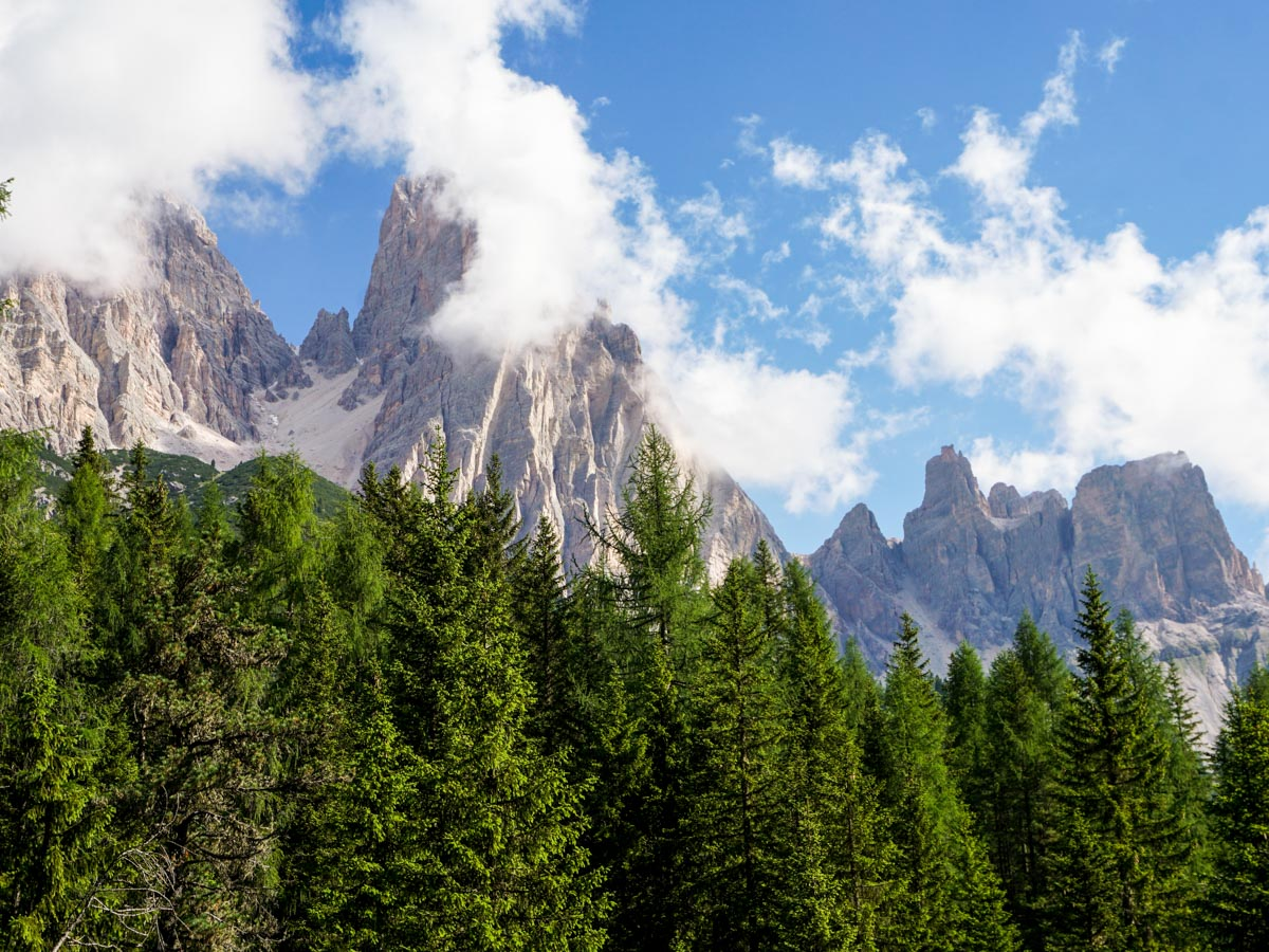 Looking upon the Lago di Sorapiss Hike in Dolomites, Italy