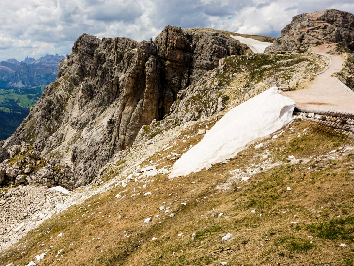 The flanks from the Lagazuoi to Passo Falzarego Hike in Dolomites, Italy